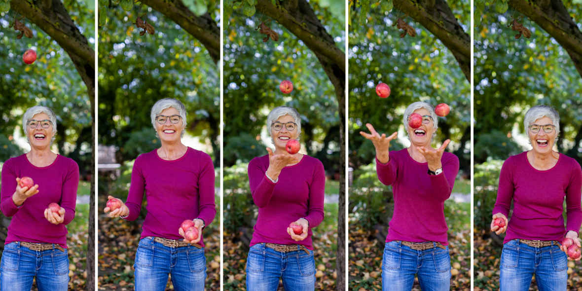 Personal Training Susanne Volmari jongliert mit Äpfeln